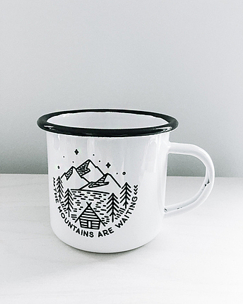 Enamel mug Mountains are waiting