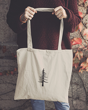 Tote bag with tree print