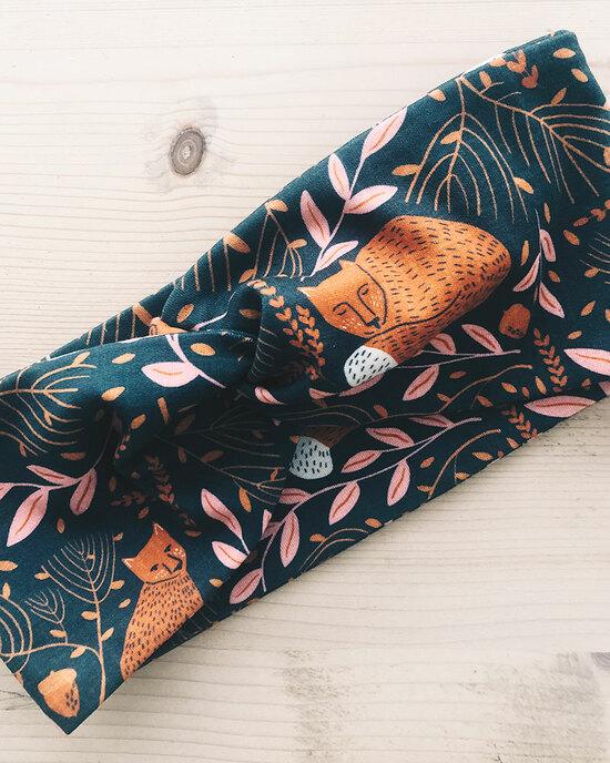 Knoten-Haarband Fuchs oder Wal