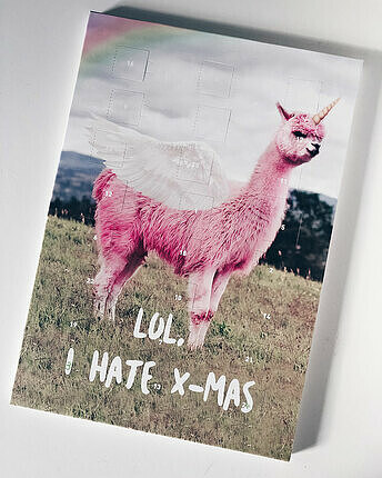 advent Calendar with alpaca -  I hate X-MAS